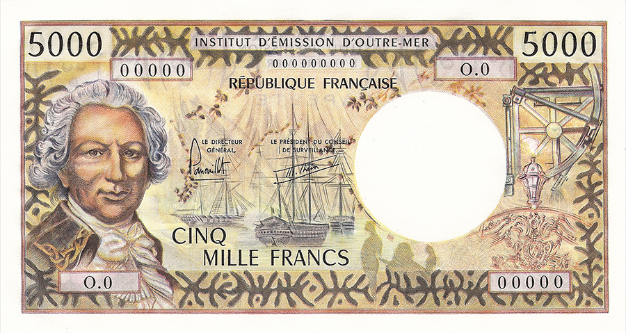 Cinq mille francs, Bougainville, type 1970 avec indication géographique - IEOM