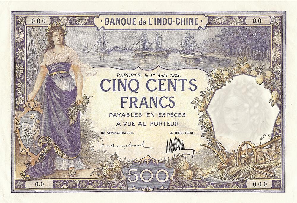 Cinq cents francs ,type 1923 Polynésie français - La création du francs CFP et son introduction
