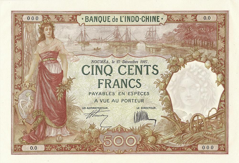 Cinq cents francs, type 1925 Nouvelle-Calédonie - La création du francs CFP et son introduction
