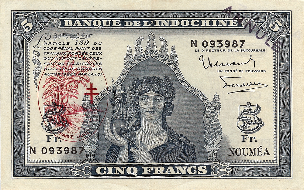 Cinq francs Minerve bleu Nouvelles-Hébrides Émis en 1944 avec surcharge France Libre Impression Australienne