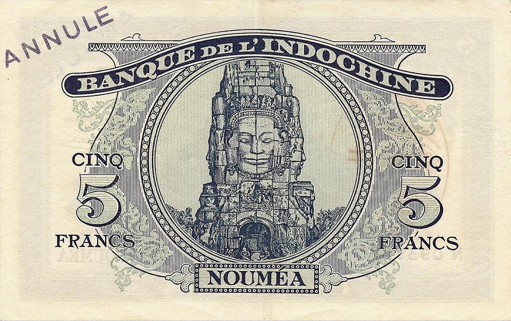 5 francs Minerve bleu Nouvelles-Hébrides Émis en 1944 avec surcharge France Libre Impression Australienne