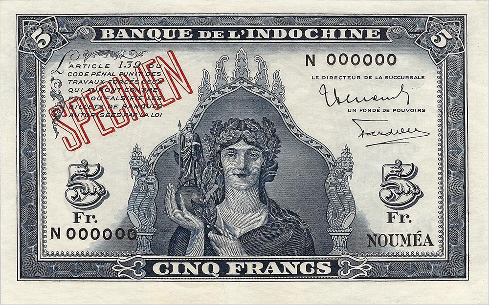 Cinq francs Minerve bleu Nouvelle-Calédonie Émis en1944 Impression Australienne - La création du francs CFP et son introduction