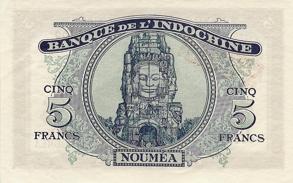 5 francs Minerve bleu Nouvelle-Calédonie Émis en1944 Impression Australienne