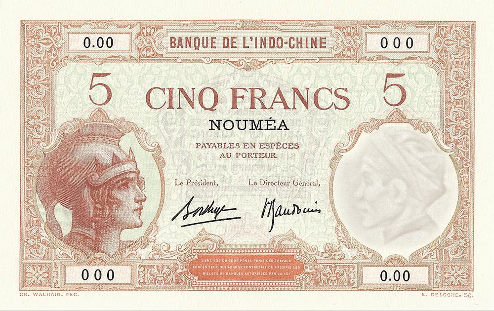 Cinq francs Walhain, type 1926 Nouvelle-Calédonie - 1945 - La création du francs CFP et son introduction