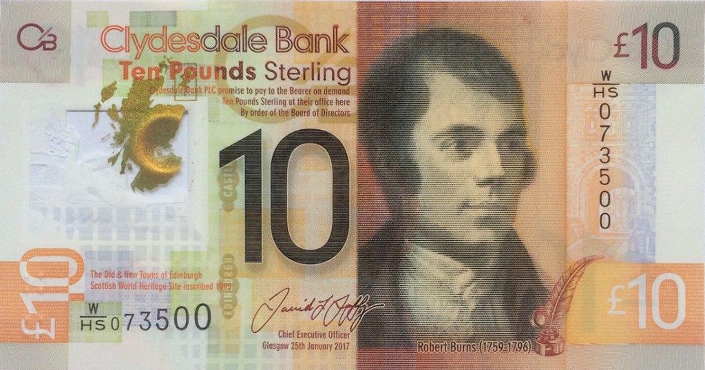 billet écossais de 10 livres 2017 Robert BURNS