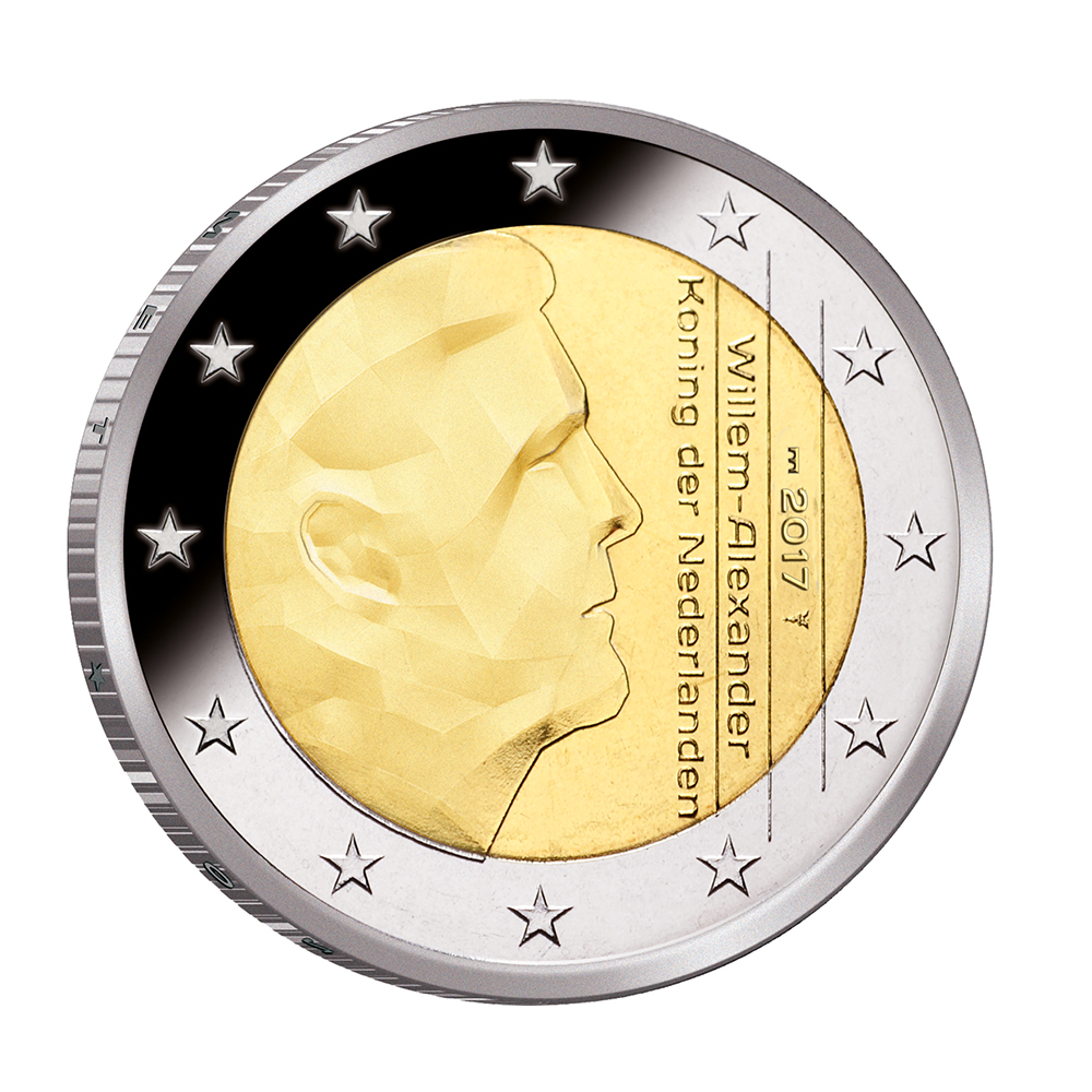 €2 2017 - Willem Alexander -KNM 2017 €2 euro coin -SATIJN mintmark and transitory proof and BU sets