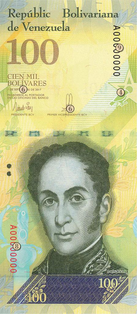 Le nouveau Billet de 100 000 Bolivars du VENEZUELA - Risque de confusion sur sa valeur faciale