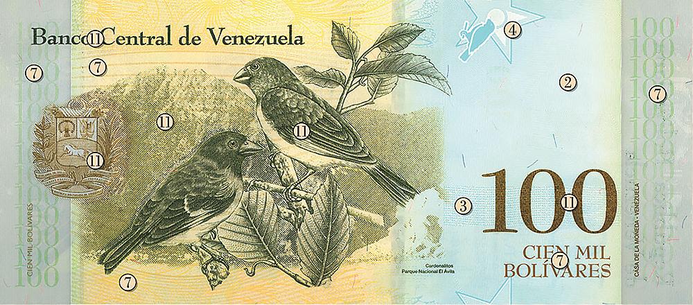 VENEZUELA 100 000 bolivars banknote