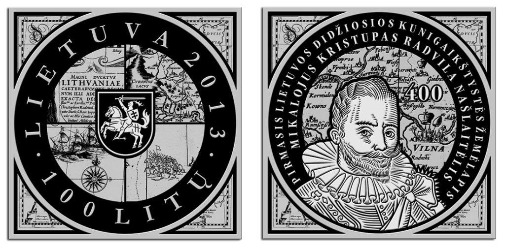 100 Litas 400 ème anniversaire de la première carte du Grand-Duché de Lituanie - Rolandas Rimkūnas