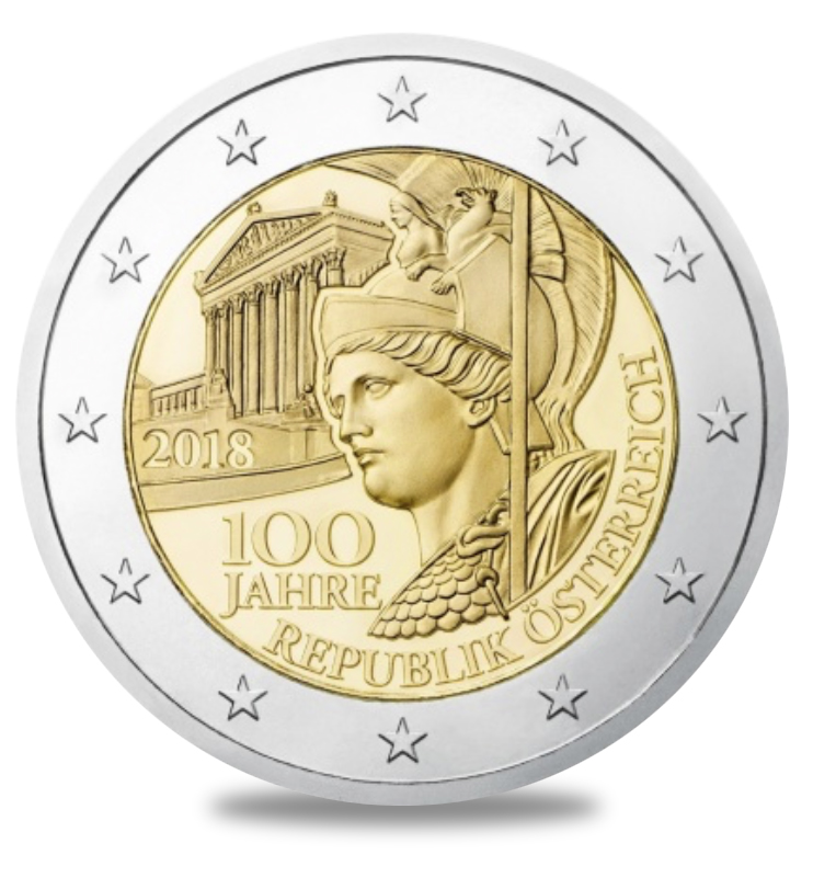 Austrian 2018 €2 euros commemorative coin - 100th anniversary of Republic
