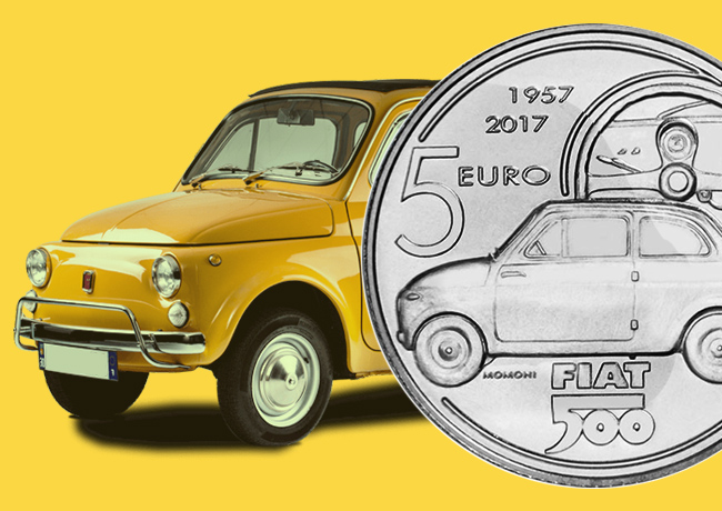 2017 italian €5 euro coin dedicated to FIAT 500 car
