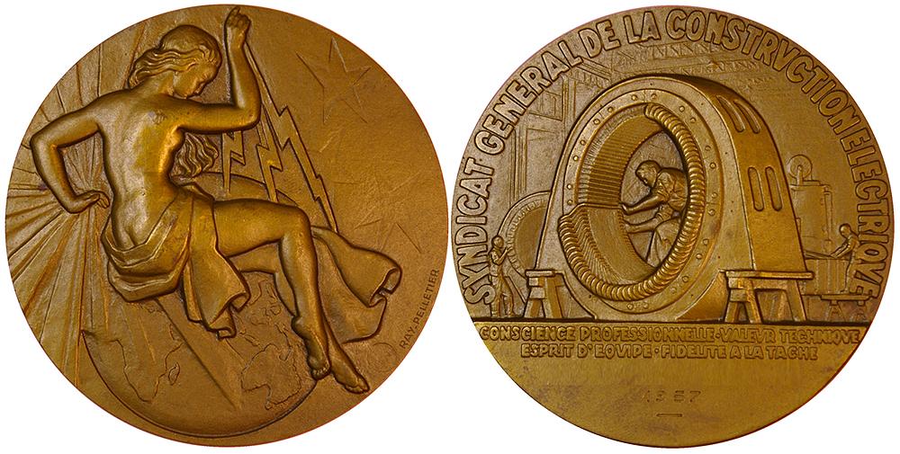 Médaille électricité Pelletier - club numismatique d'Argenteuil