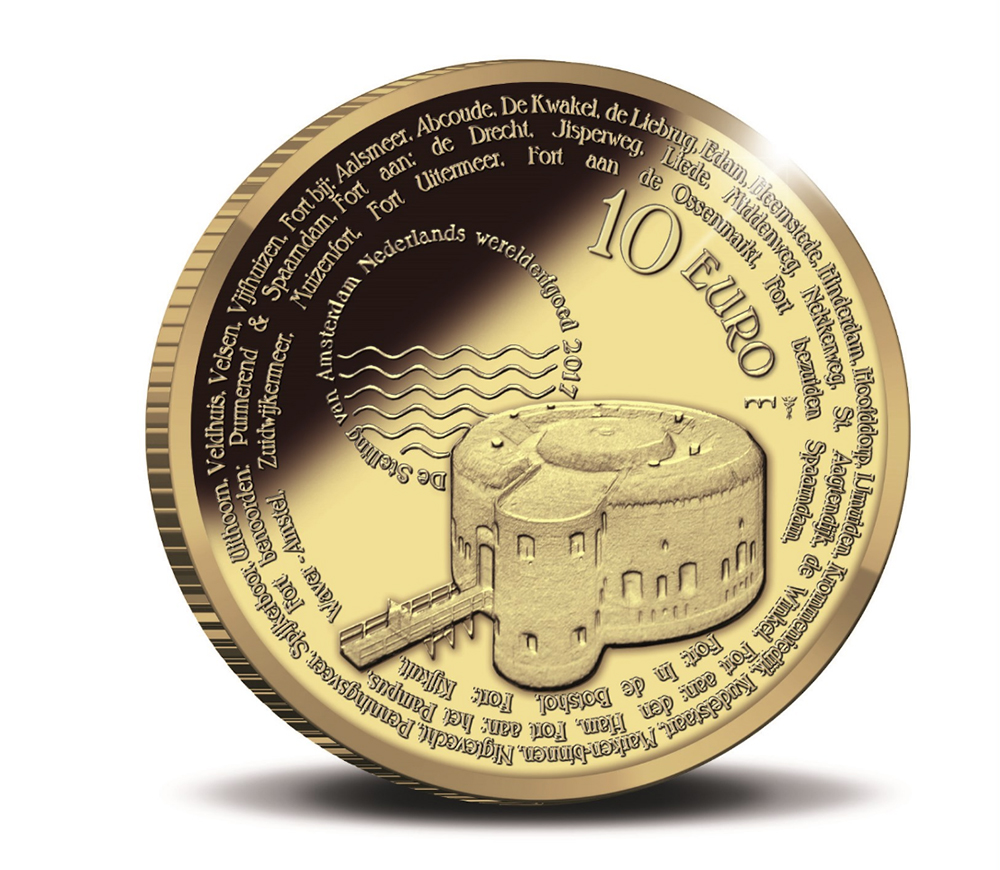 10 euro Or - Pays Bas : Monnaies commémoratives Ligne de défense d'AMSTERDAM
