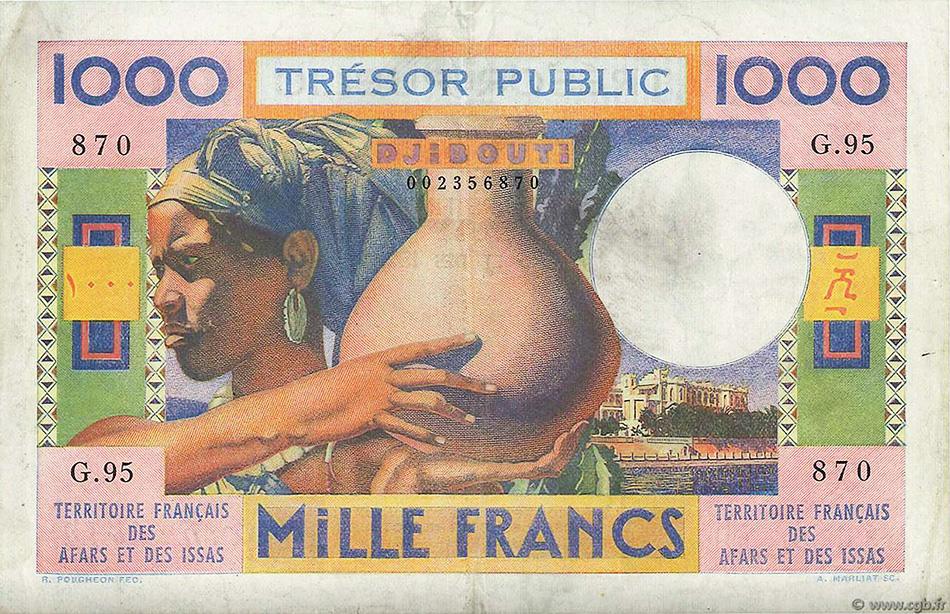 1000 francs polychrome, femme portant une jarre - Territoire Francais des Afars et des Issas