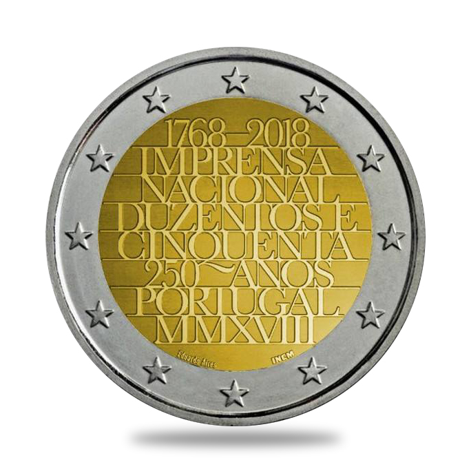 2€ - 250 ans de l'imprimerie nationale du Portugal - 2 euro commémorative - 2 euro commémorative - Portugal 2018