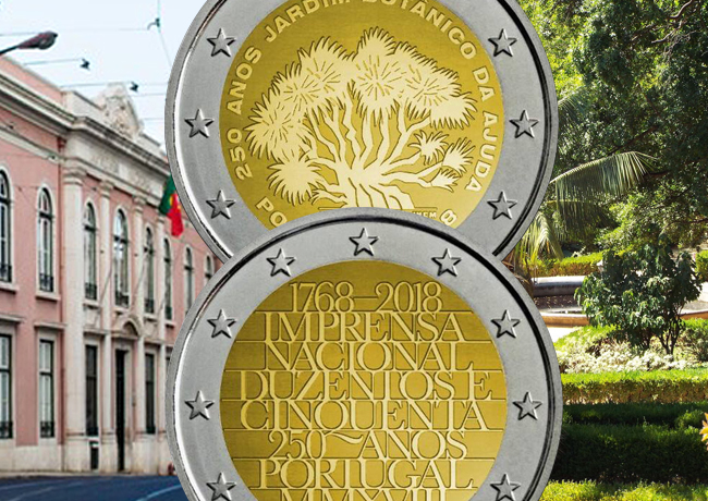 Portugal: 2018 €2 commemorative coins dedicated to National Printing works and to AJUDA garden