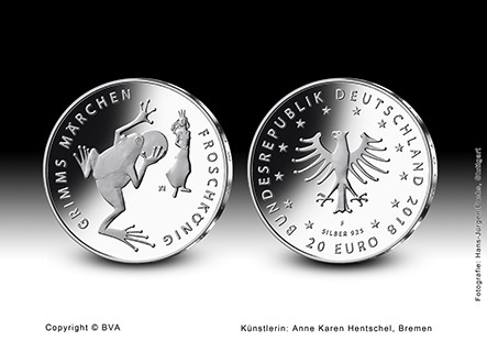 Silver €20 proof coins 2018 - the Grimm brothers.