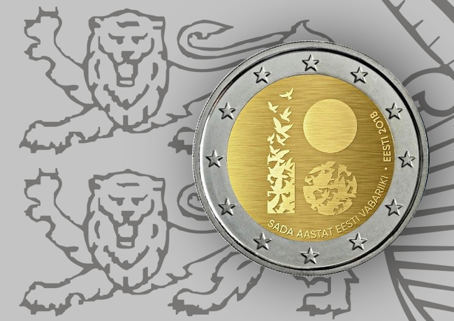 2018 €2 commemorative coin 100th anniversary of estonian Independance