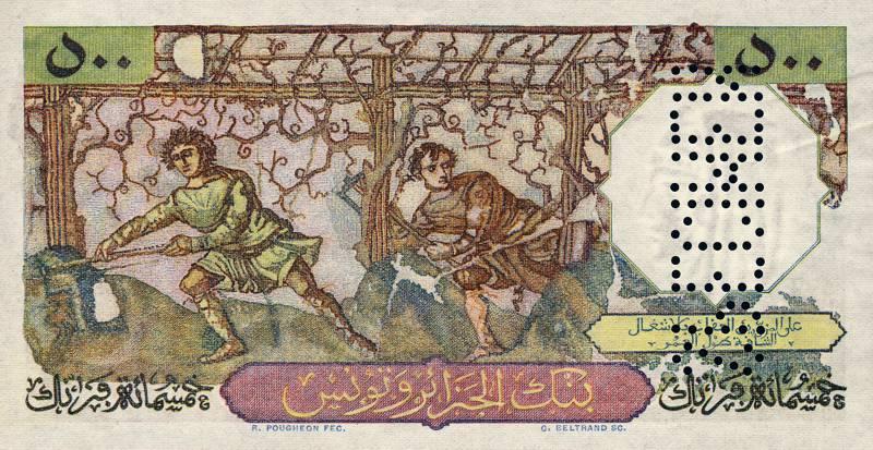 """500 francs """"Bacchus - Banque de l'Algérie - Tunisie"""