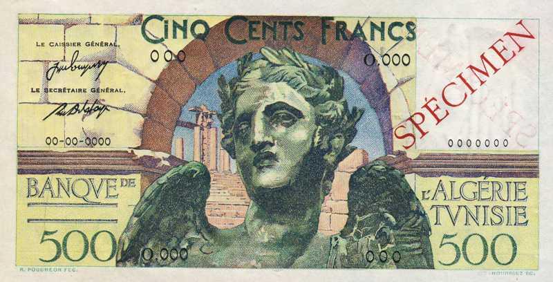 """500 francs """"Victoire"""" - Banque de l'Algérie - Tunisie"""