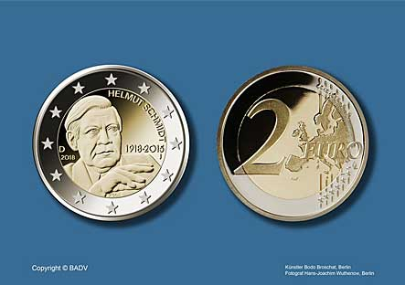 €2 commemorative coin 100 anniversary of HELMUT SCHMIDT birth 2018