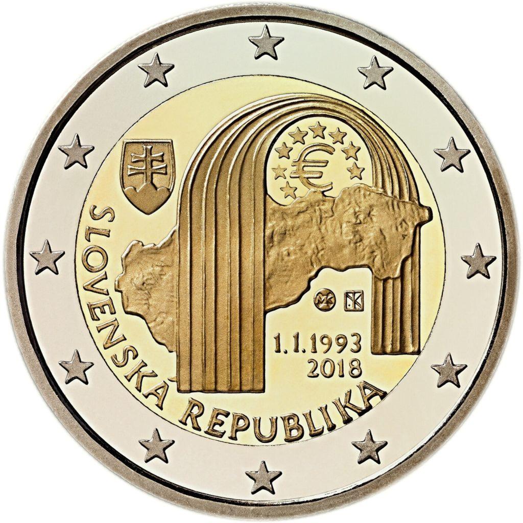 Emissions monétaires 2018 commémorant les 25 ans de la République Slovaque