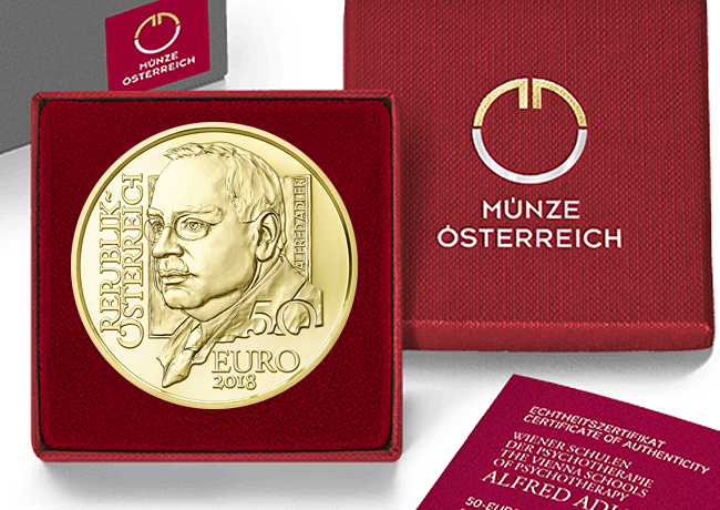 Austrian: Gold Coin € 50 Alfred Adler 2018 – The Vienna Schools of Psychotherapy gold series