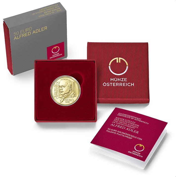 Austrian: Gold Coin € 50 Alfred Adler 2018 - The Vienna Schools of Psychotherapy gold series