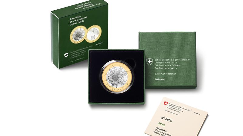 "10 fr Bimetallic coin ""Carline thistle"" - FLORA ALPINA series"