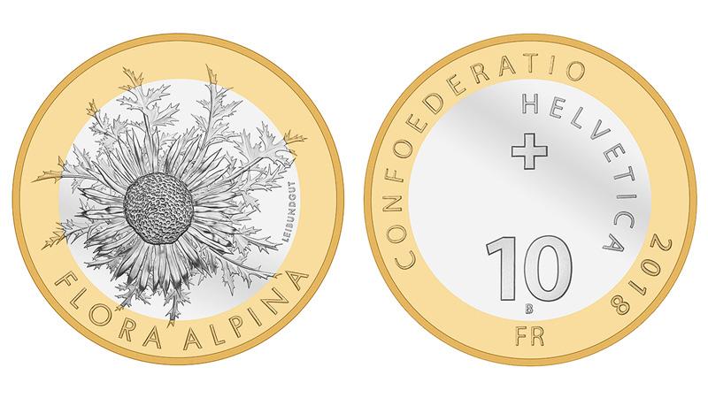 "10 fr -Bimetallic coin ""Carline thistle"" - FLORA ALPINA series"