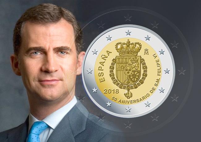 2€ commémorative espagnole 2018 – 50 ans du roi FELIPE VI d'Espagne