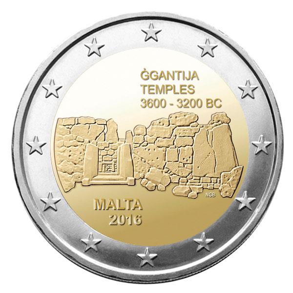 2€ temples de Ġgantija Malte 2016