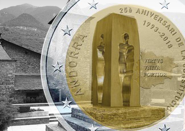 2€ 2018 ANDORRE dédiée au 25ème anniversaire de la constitution de la Principauté