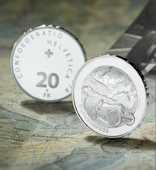 "Silver coin ""Klausen pass"" Swiss Alpine passes series"
