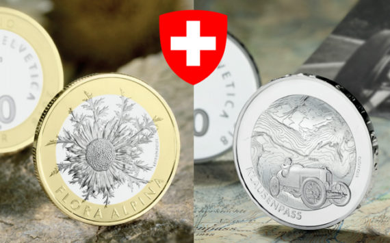 "New Swiss commemorative coins: ""Carline thistle"" and ""Klausen pass"""