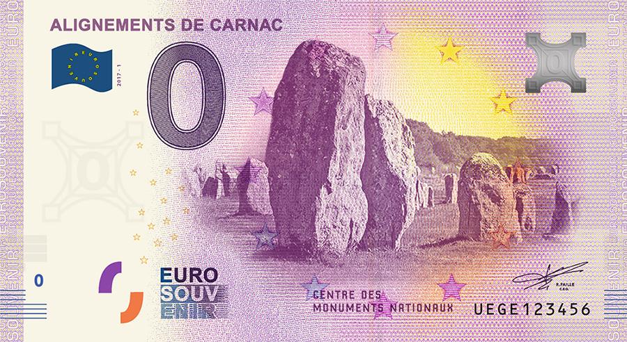 Les billets zero euros souvenir touristique 2018 - nouveautés - Alignements de Carnac