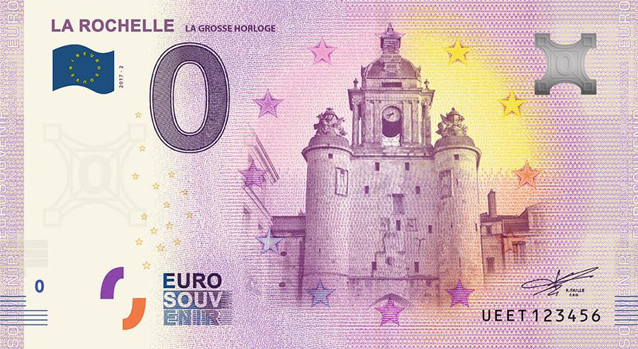 Les billets zero euros souvenir touristique 2018 - nouveautés - La Rochelle la grosse Horloge