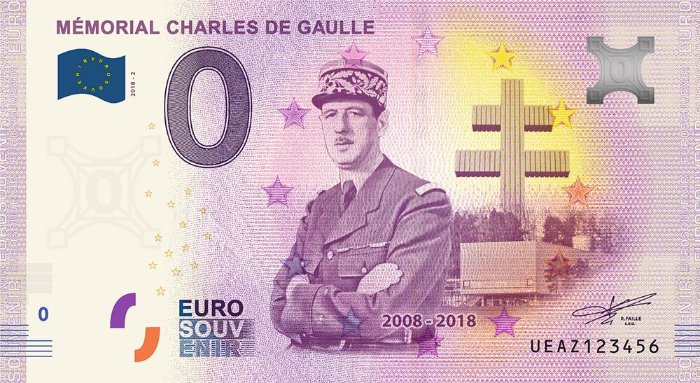 Les billets zero euros souvenir touristique 2018 - nouveautés - Mémorial Charles de Gaulle