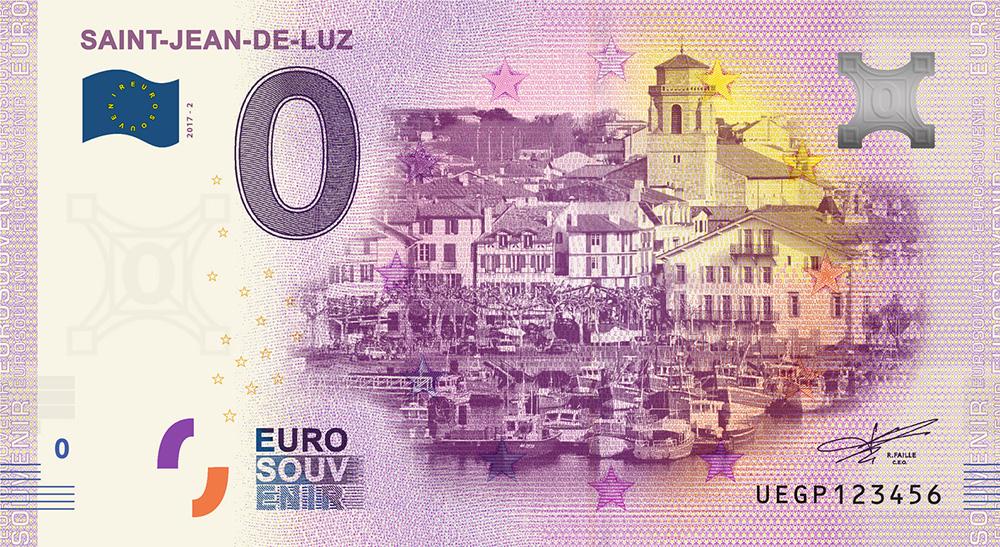 Les billets zero euros souvenir touristique 2018 - nouveautés - Saint-Jean-de-Luz