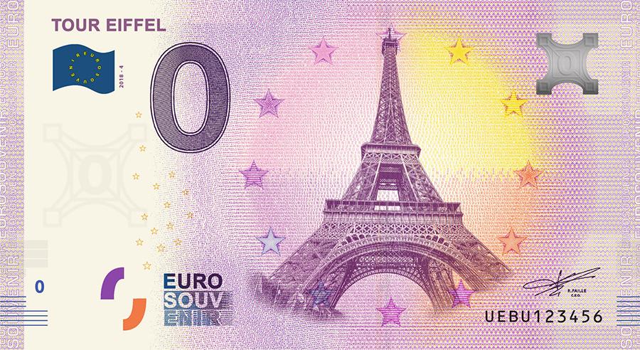 Les billets zero euros souvenir touristique 2018 - nouveautés - Tour Eiffel