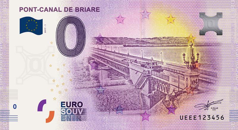 zero_euro__Pont_Canal_de_Briare billet souvenir touristique