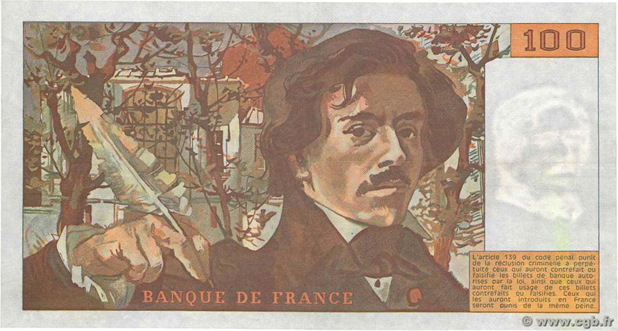 100 Francs DELACROIX 1978 - Fauté - Défaut taille douce - pas de numérotation ni de signature - Gros filigrane