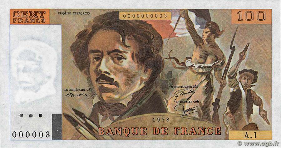 100 Francs Delacroix Alph.A.1 n°000003 1978