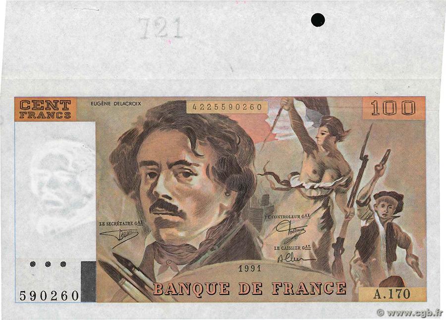 100 Francs DELACROIX 1991 - Fauté - Important appendice bord de feuille. Gros filigrane - CGB