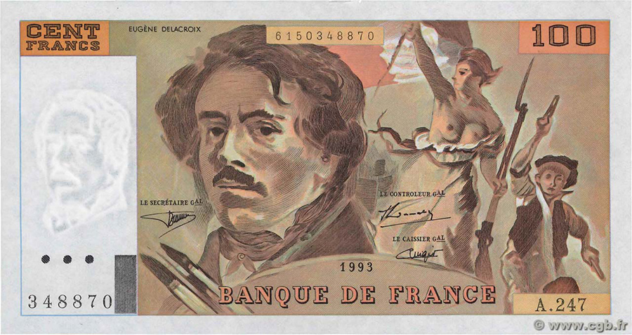 La Collection de 100 Fr DELACROIX de Claude FAYETTE: une vente CGB rare ! - 100 Francs Delacroix - fauté Uniface 1993