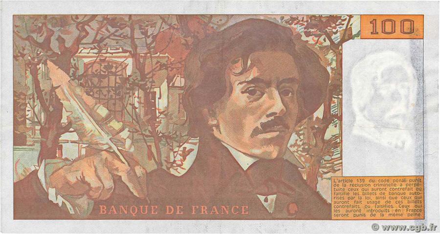 100 Francs DELACROIX 1991 - Fauté - important décalage d'impression du recto - ligne au marqueur dans le filigrane
