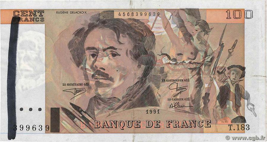100 Francs DELACROIX 1991 - Fauté - important décalage d'impression du recto - ligne au marqueur dans le filigrane - CGB