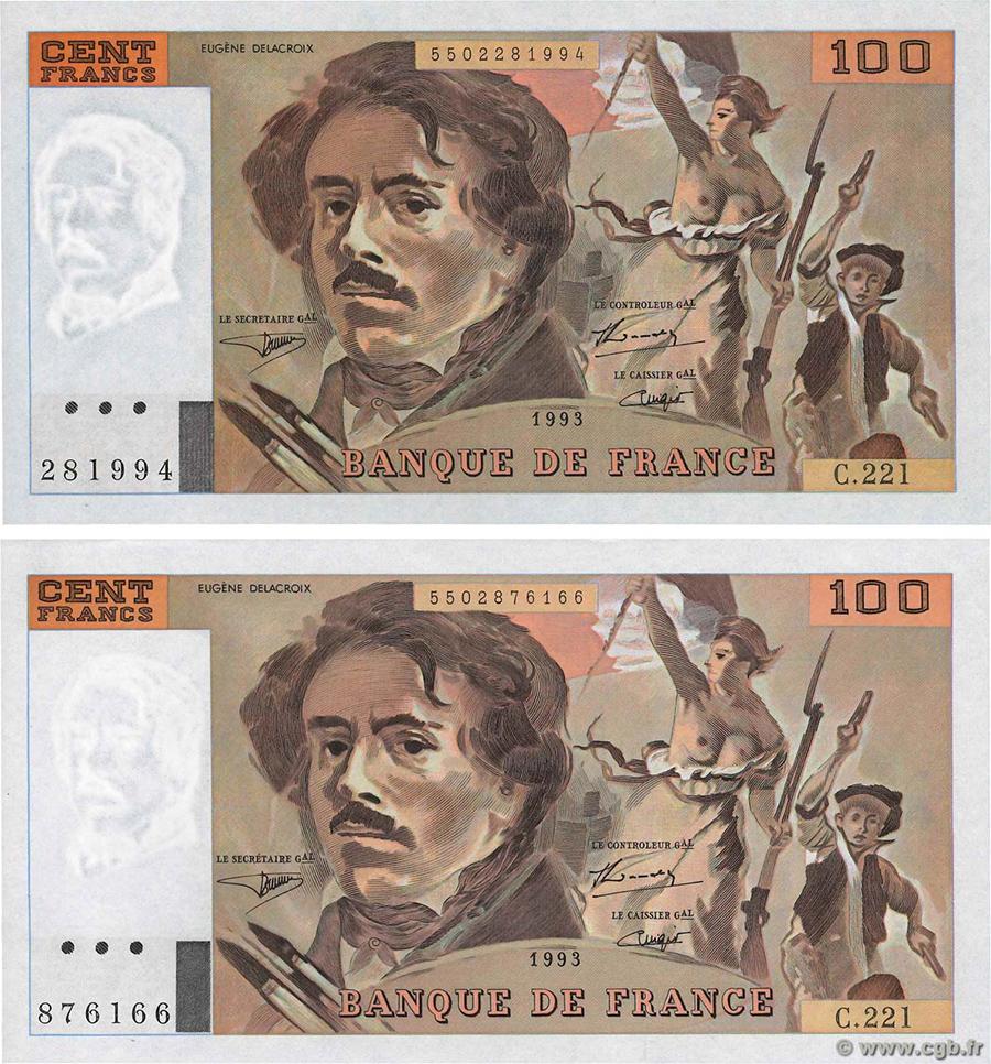 100 Francs DELACROIX 1993 - Paire de billets même lettre et même alphabet - avec et sans accent