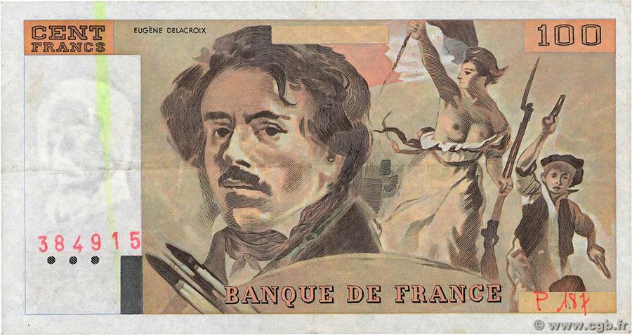 100 Francs Delacroix 1991 - Alph.P.187 - Numérotation manuscrite - CGB