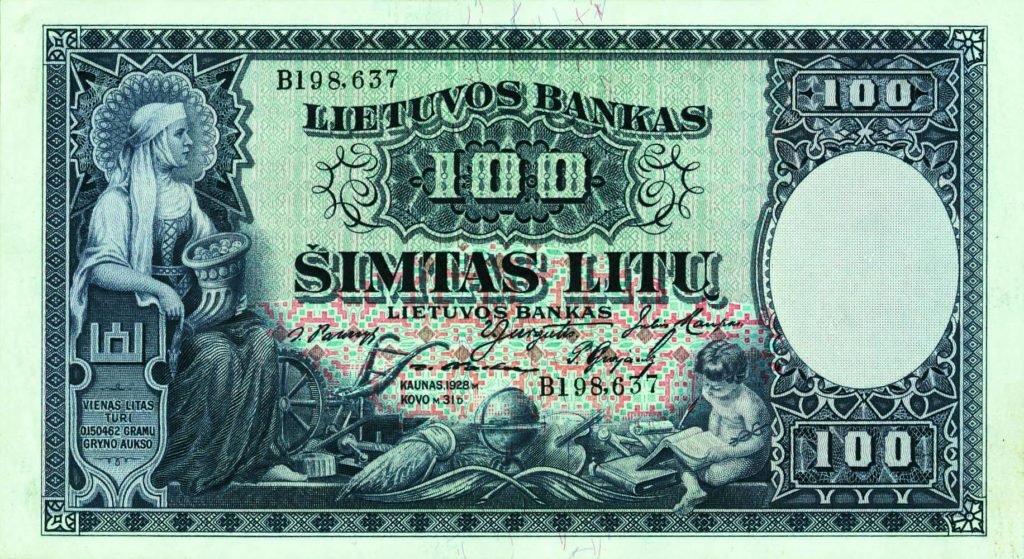 100 litas lietuvos bankas - Banque de Lituanie - 1928